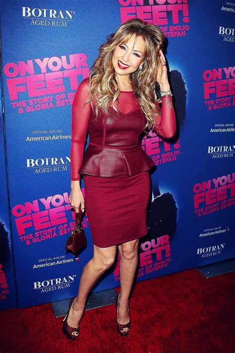 Thalia attends opening night for On Your Feet - Leather