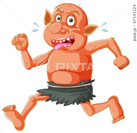 Red goblin or troll running pose with funny faceのイラスト素材 [67141224] - PIXTA