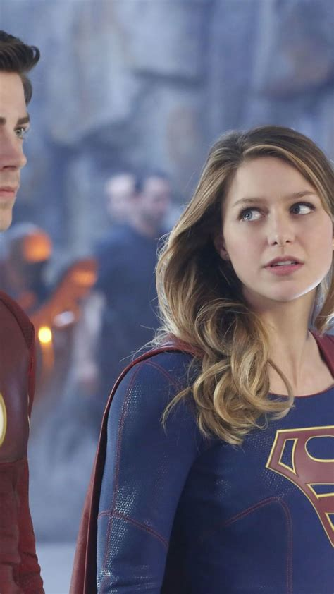 Wallpaper Flash, Supergirl, Melissa Benoist, Grant Gustin